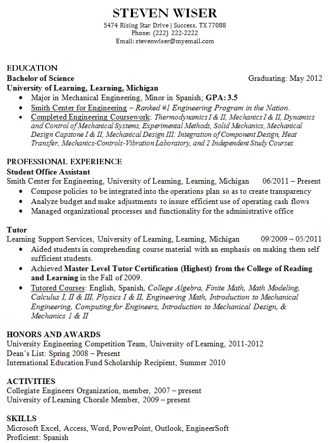 12 college fresh graduate resume samples easy resume samples sample resume for fresh graduate without work experience