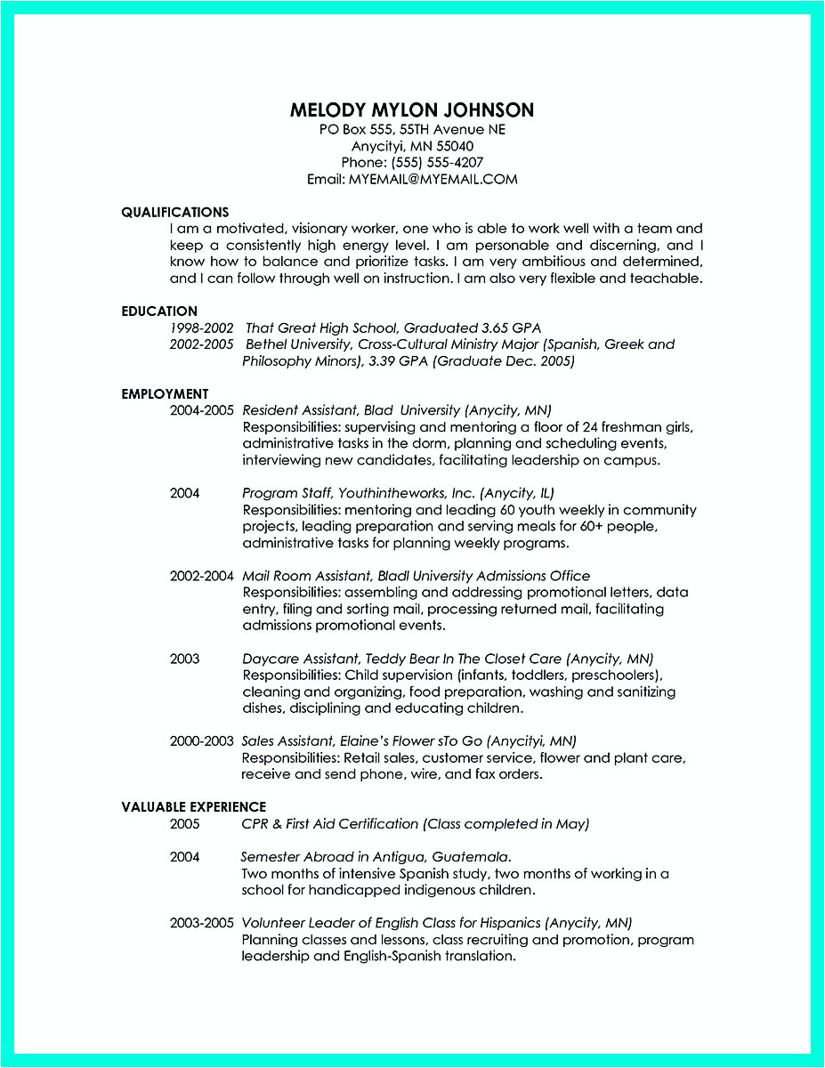 Sample Resume for Recent College Graduate with No Experience Cool Sample Of College Graduate Resume with No Experience