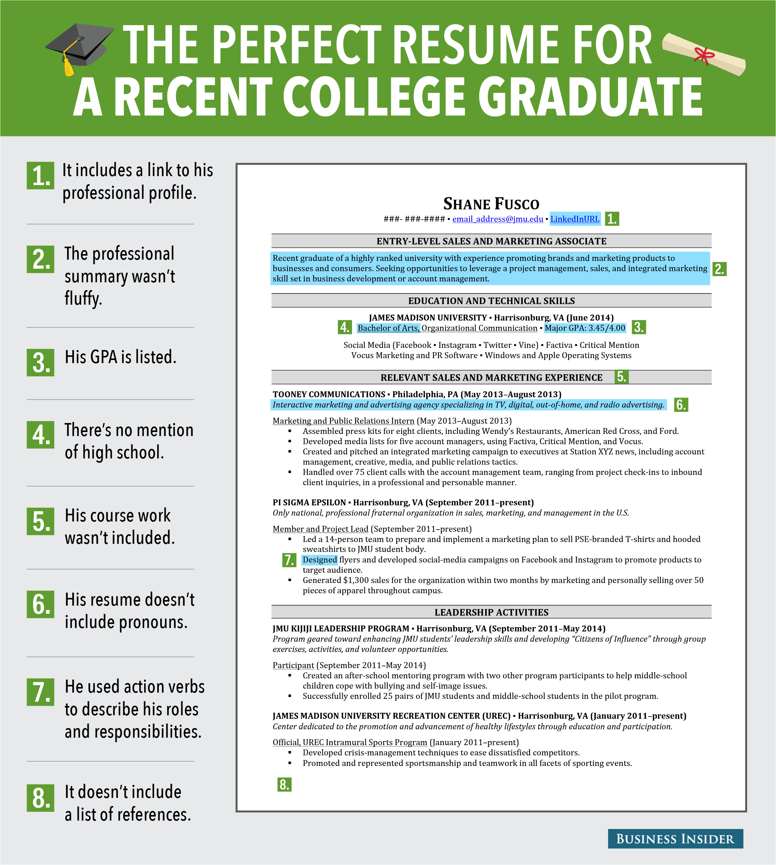 excellent resume for recent grad 2014 7