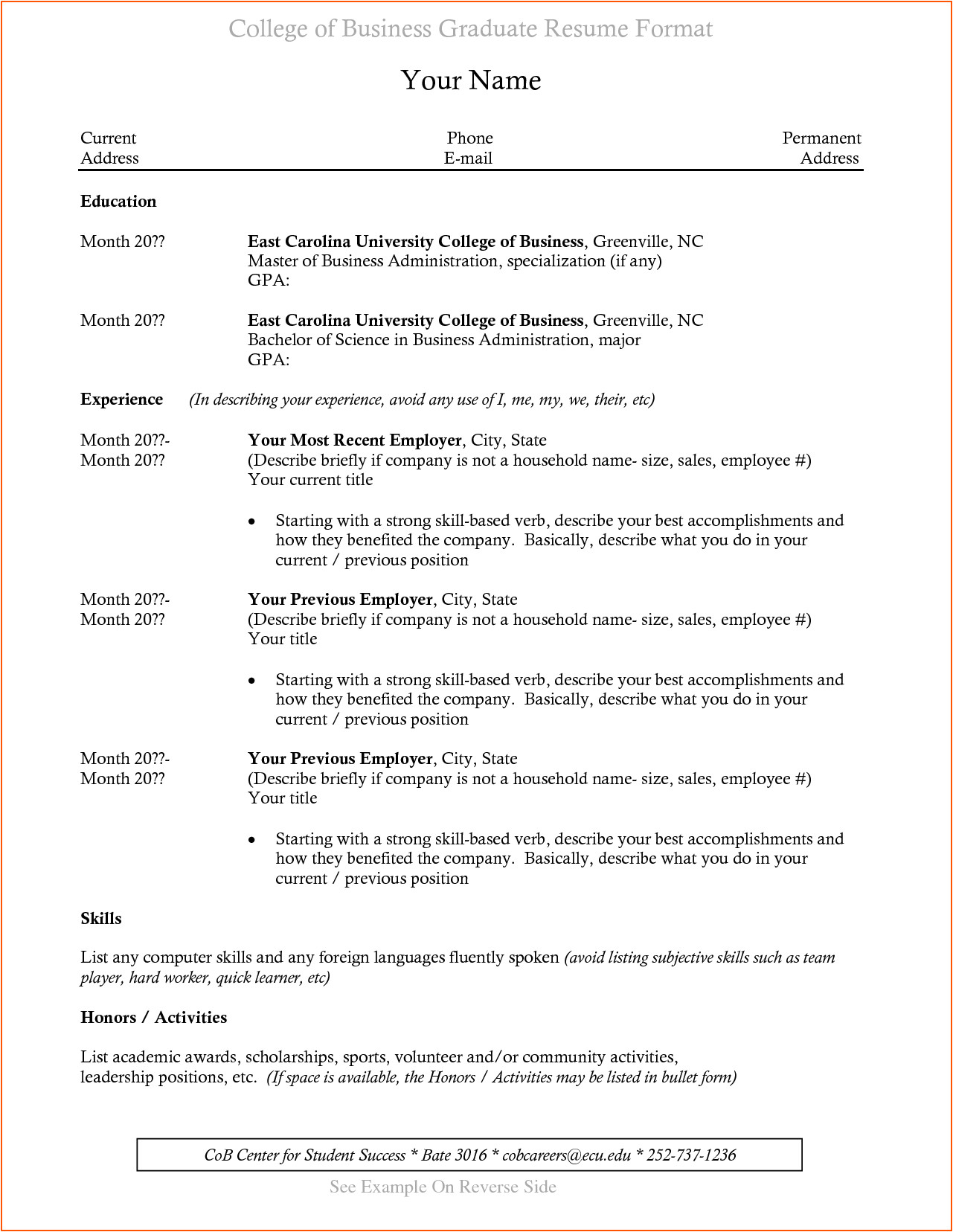 resumes for college graduates with no experience