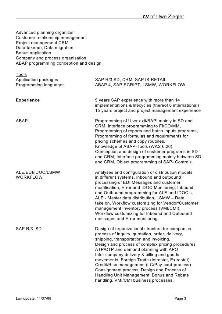 sample resume for sap abap 1 year of experience abap resume sample