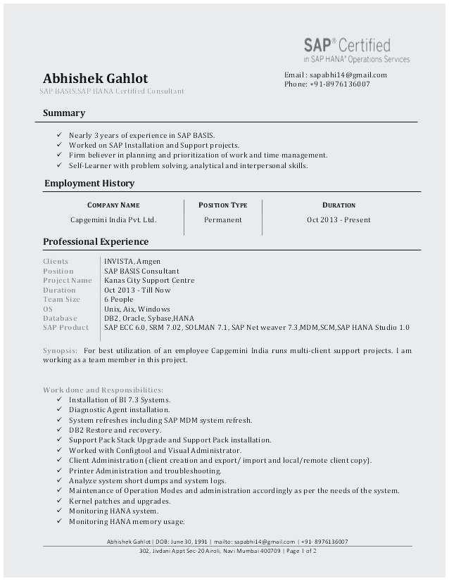 sample resume for sap abap 1 year of experience best luxury sap sample resumes sick note template free sap sample resumes