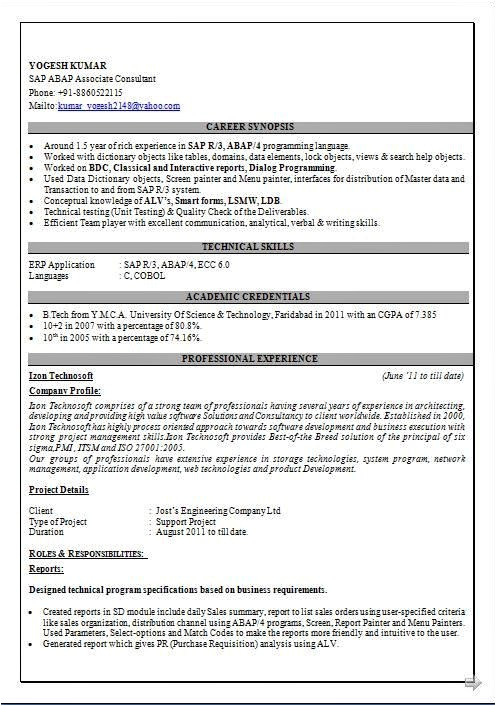 sample resume for sap abap 1 year of experience