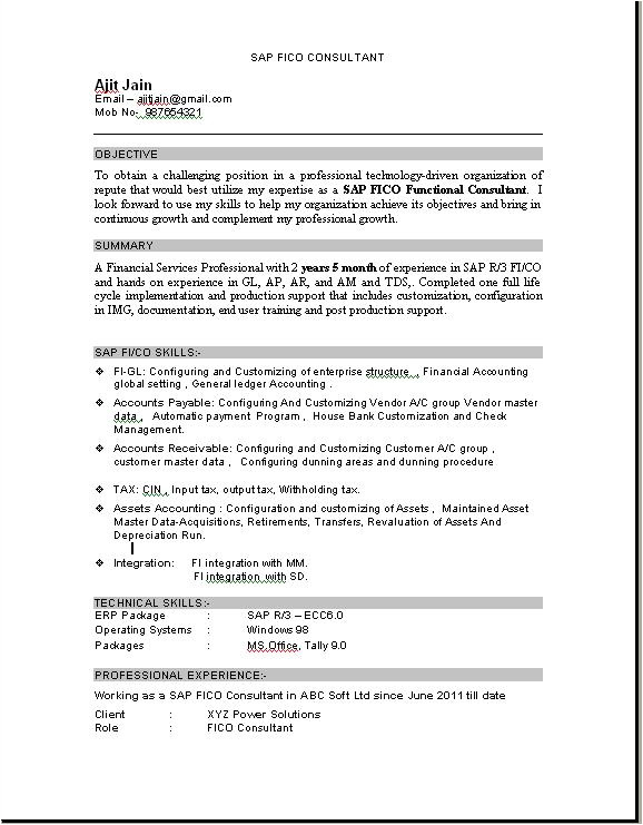 Sample Resume for Sap Fico Consultant Sample Resume Sap Consultant How to Write A Good Document