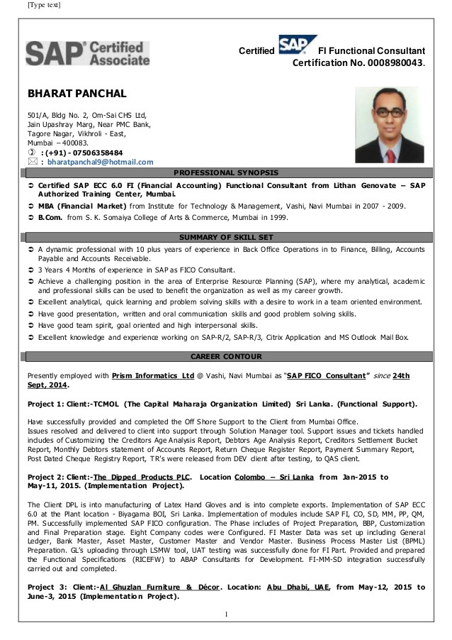 Sample Resume for Sap Fico Consultant Sap Fico Bharat Panchal Resume