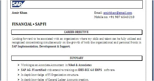 Sample Resume for Sap Fico Consultant Sap Fico Resume format