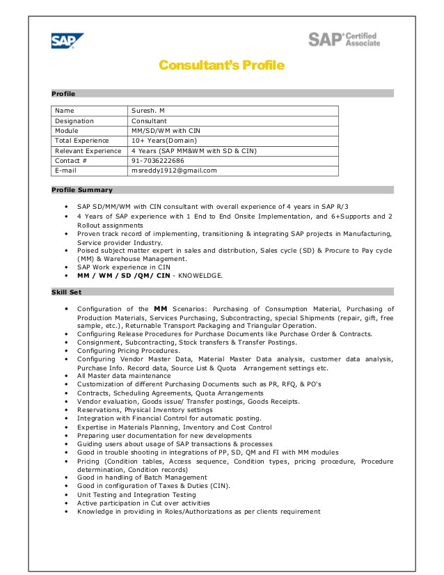 Sample Resume for Sap Sd Consultant 44 Cover Letter for Sap Abap Consultant Curriculum Vitae