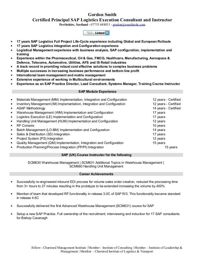 sap logistics execution consultant cv 15486715