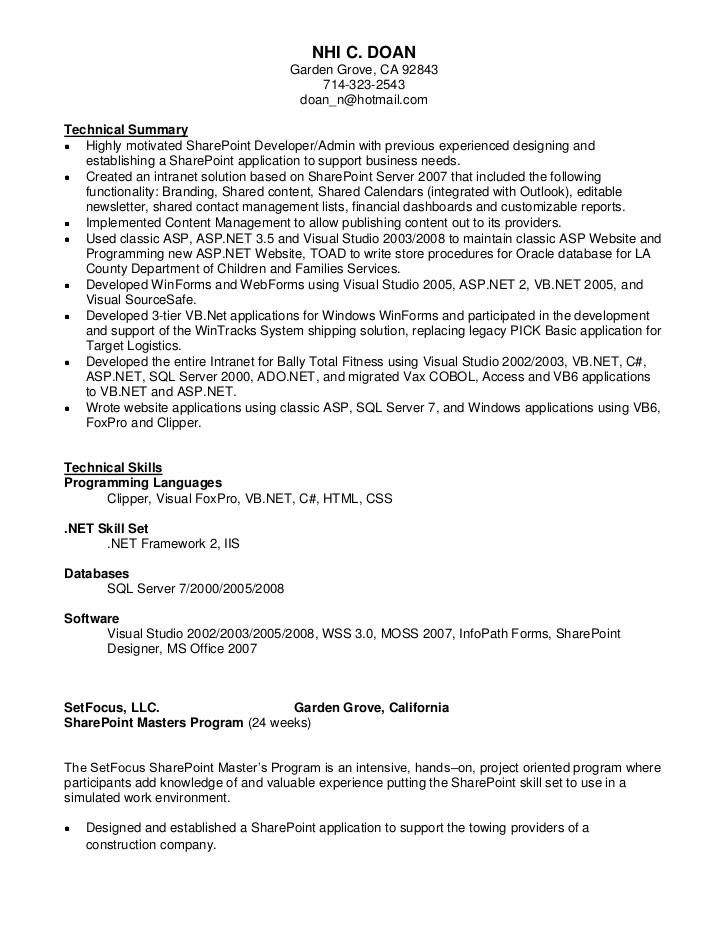nhi doan sharepoint resume