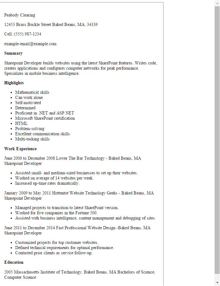 Sample Resume for Sharepoint Developer Professional Sharepoint Developer Templates to Showcase