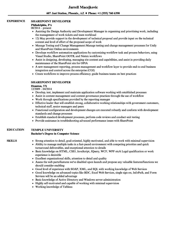 sharepoint developer resume sample