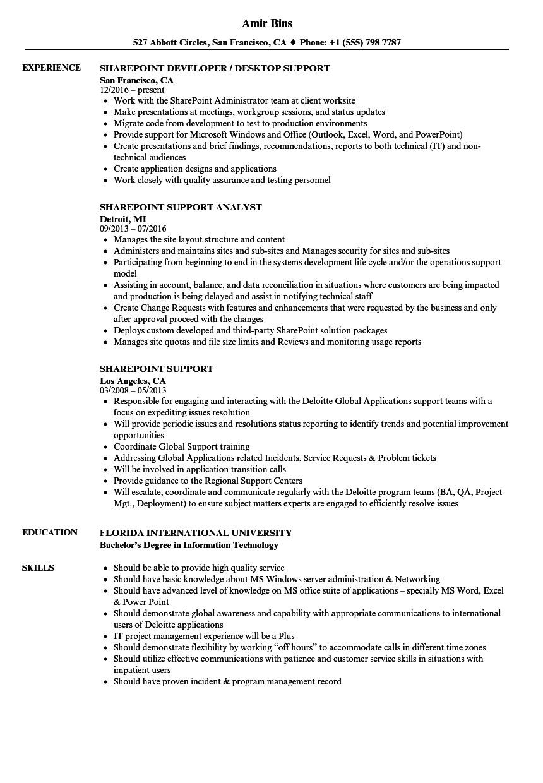 Sample Resume for Sharepoint Developer Sharepoint Support Resume Samples Velvet Jobs