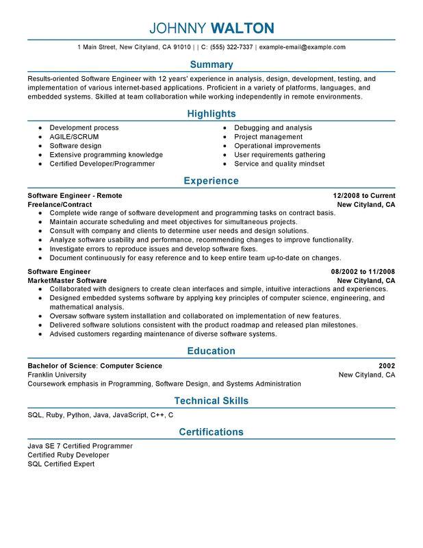 remote software engineer resume sample