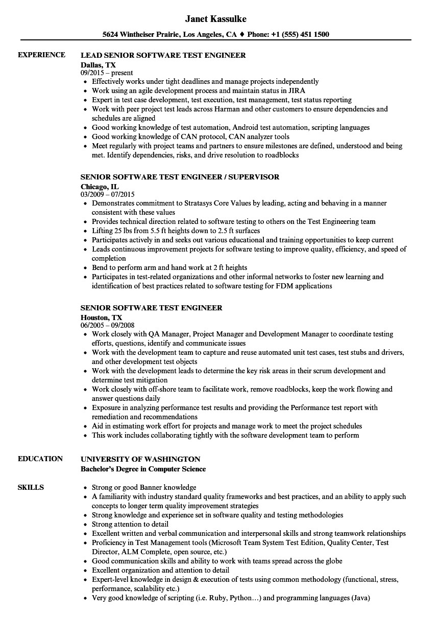 senior software test engineer resume sample