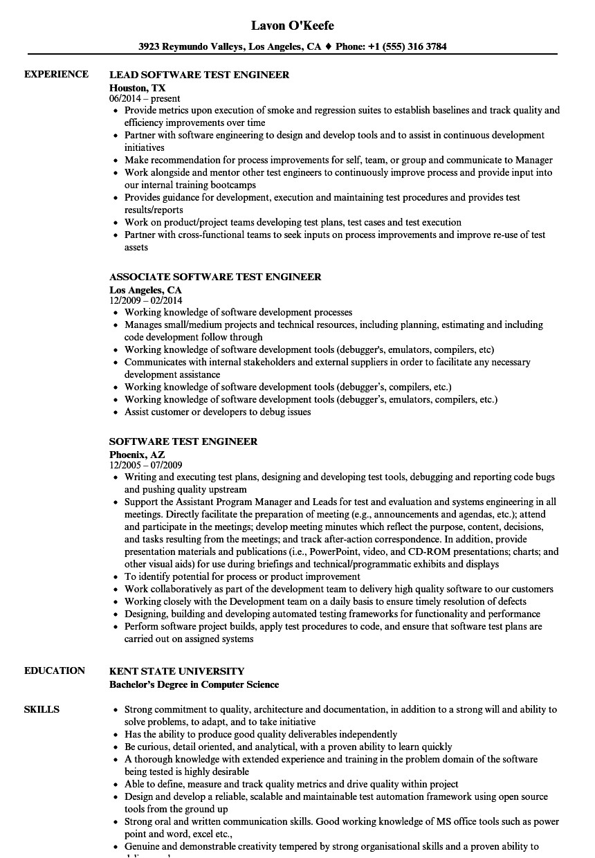 software test engineer resume sample