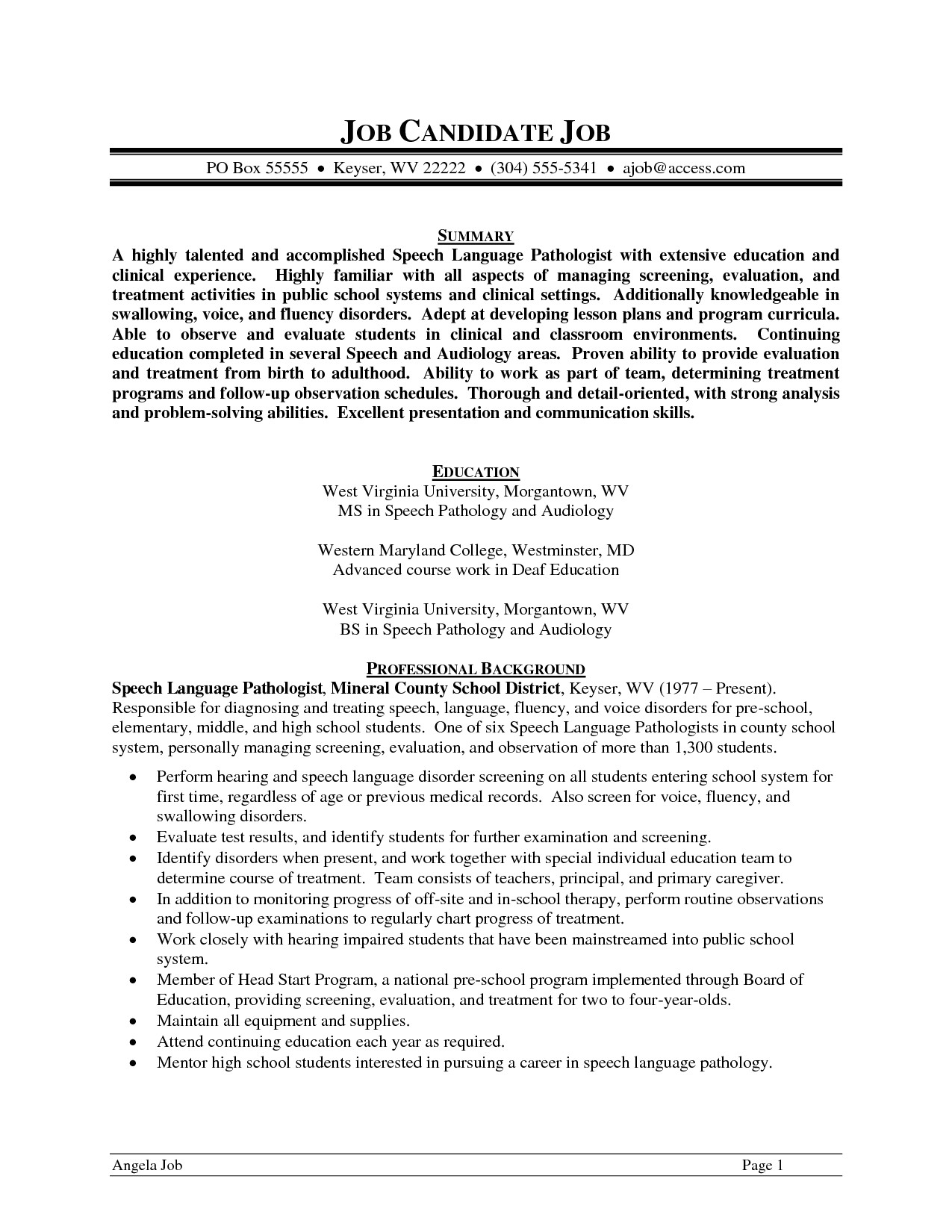 sample speech pathologist resume