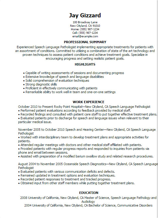 speech language pathology resume
