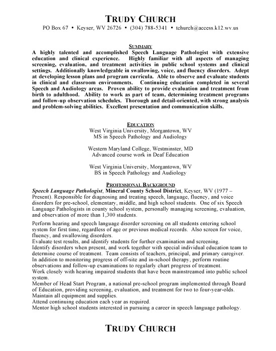 speech pathologist resume