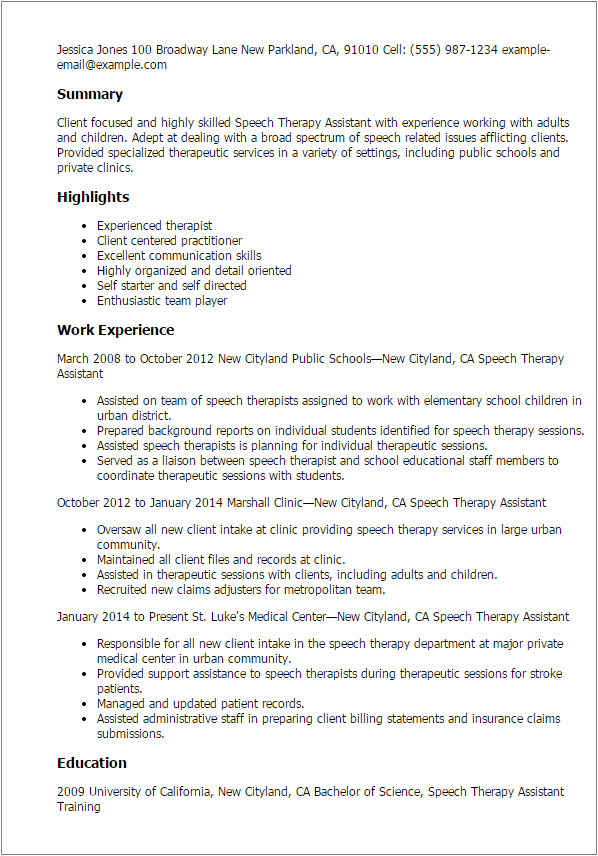 speech therapy assistant