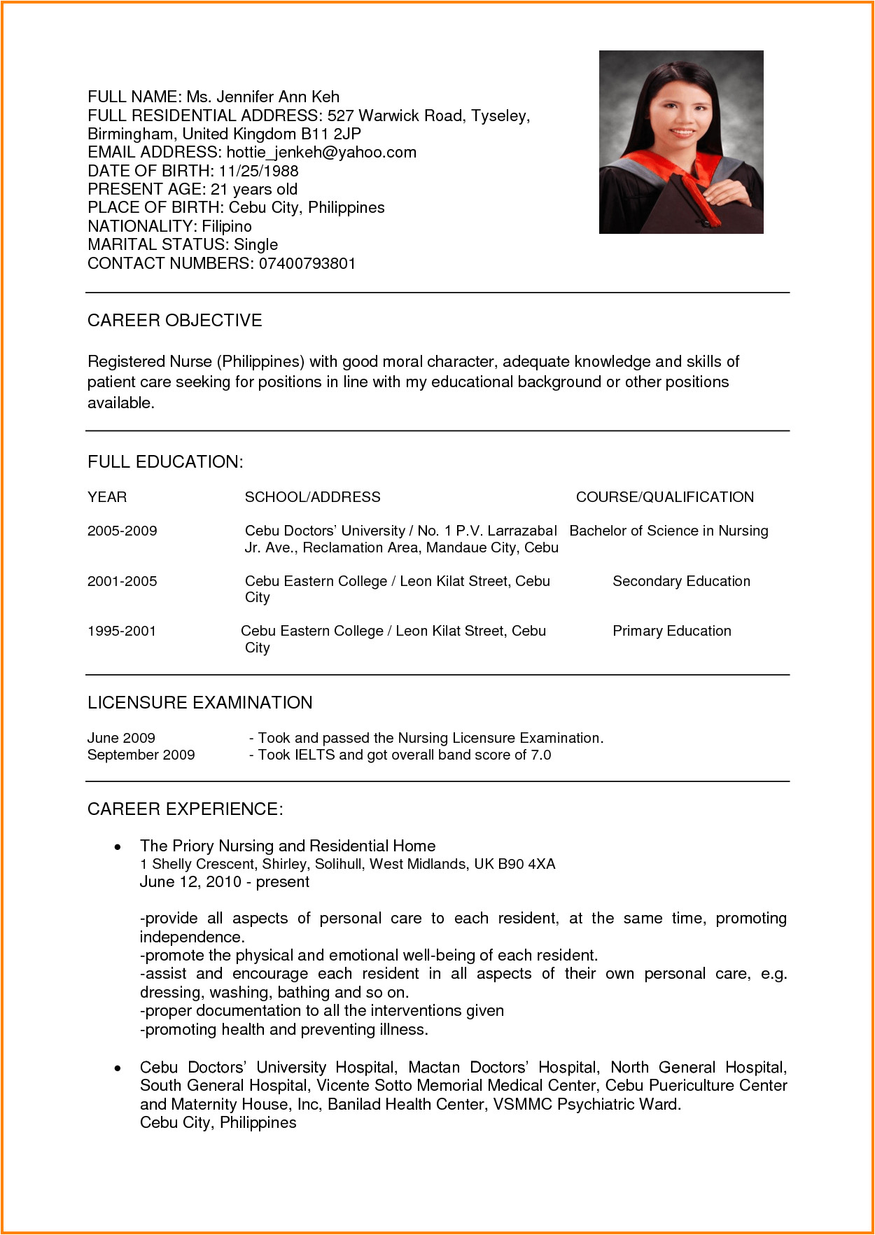15 sample of curriculum vitae for job application