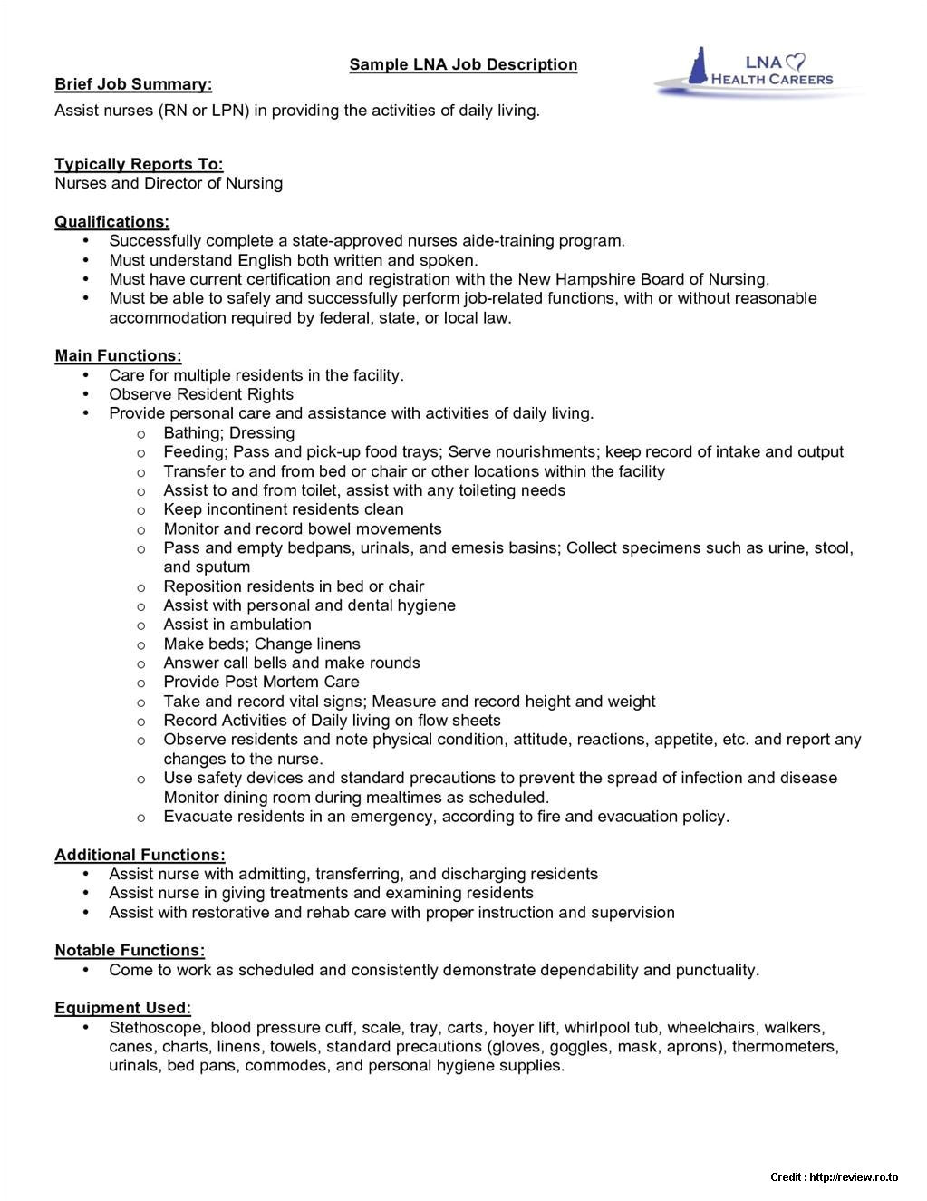 sample resume staff nurse job description