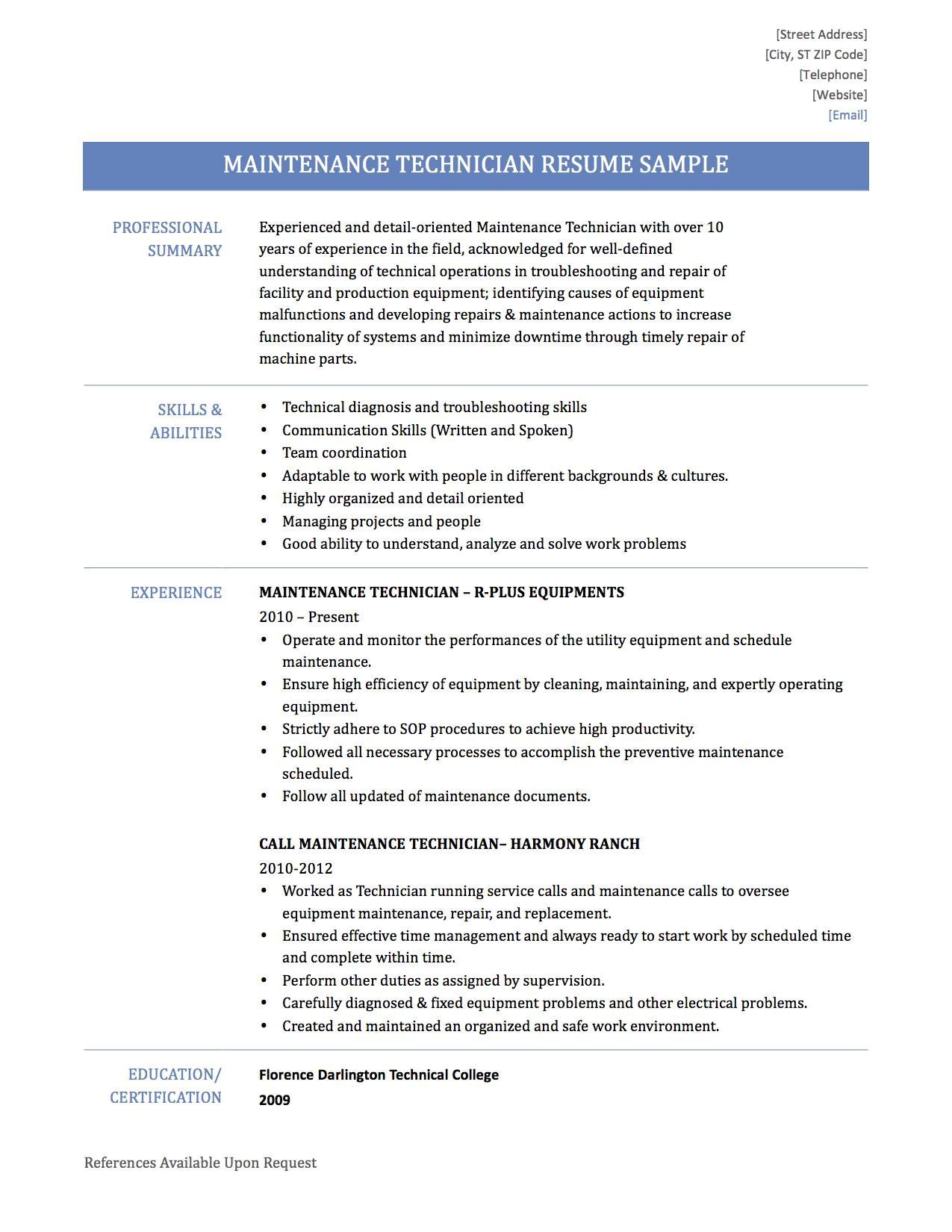 sample resume for subway sandwich artist inspirational maintenance resume sample 1 technician samples fr peppapp