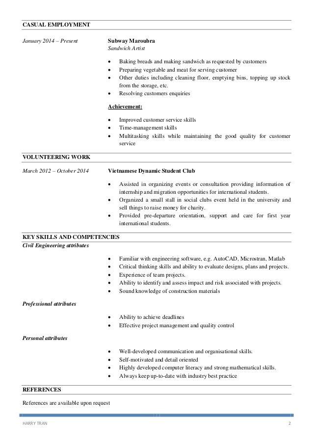 sandwich artist resume