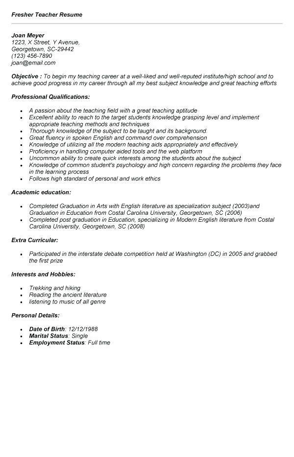 job application letter for the post of english teacher