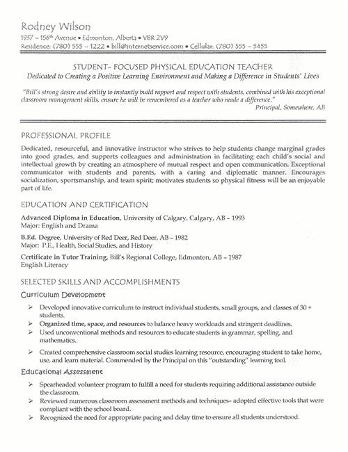 sample resume for the post of teacher