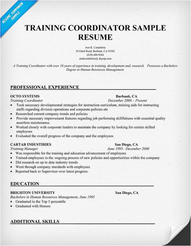 Sample Resume for Trainer Position Cover Letter Training Coordinator Examples Covering
