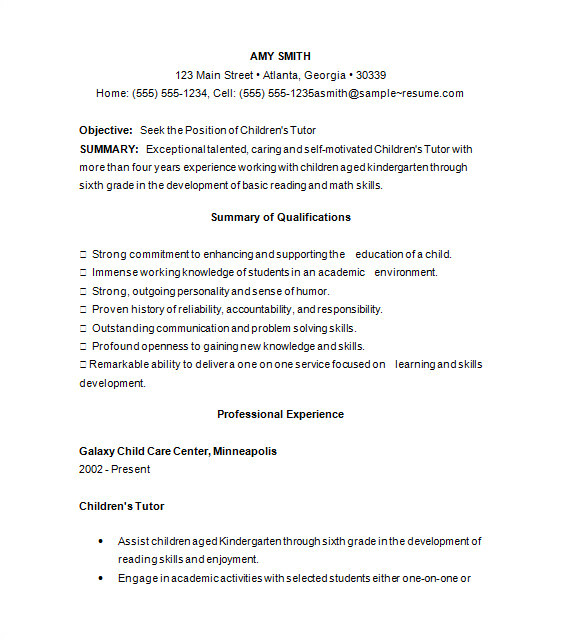 Sample Resume for Tutors 11 Tutor Resume Templates Doc Pdf Free Premium