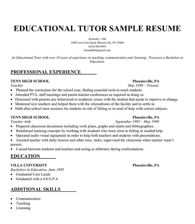 Sample Resume for Tutors Educational Tutor Resume Sample Resumecompanion Com