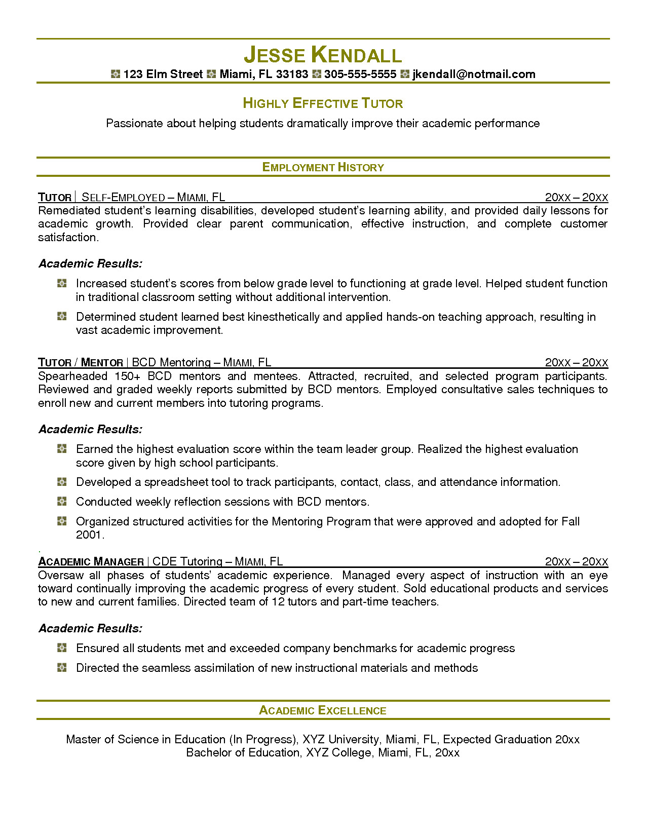 math tutor job description resume