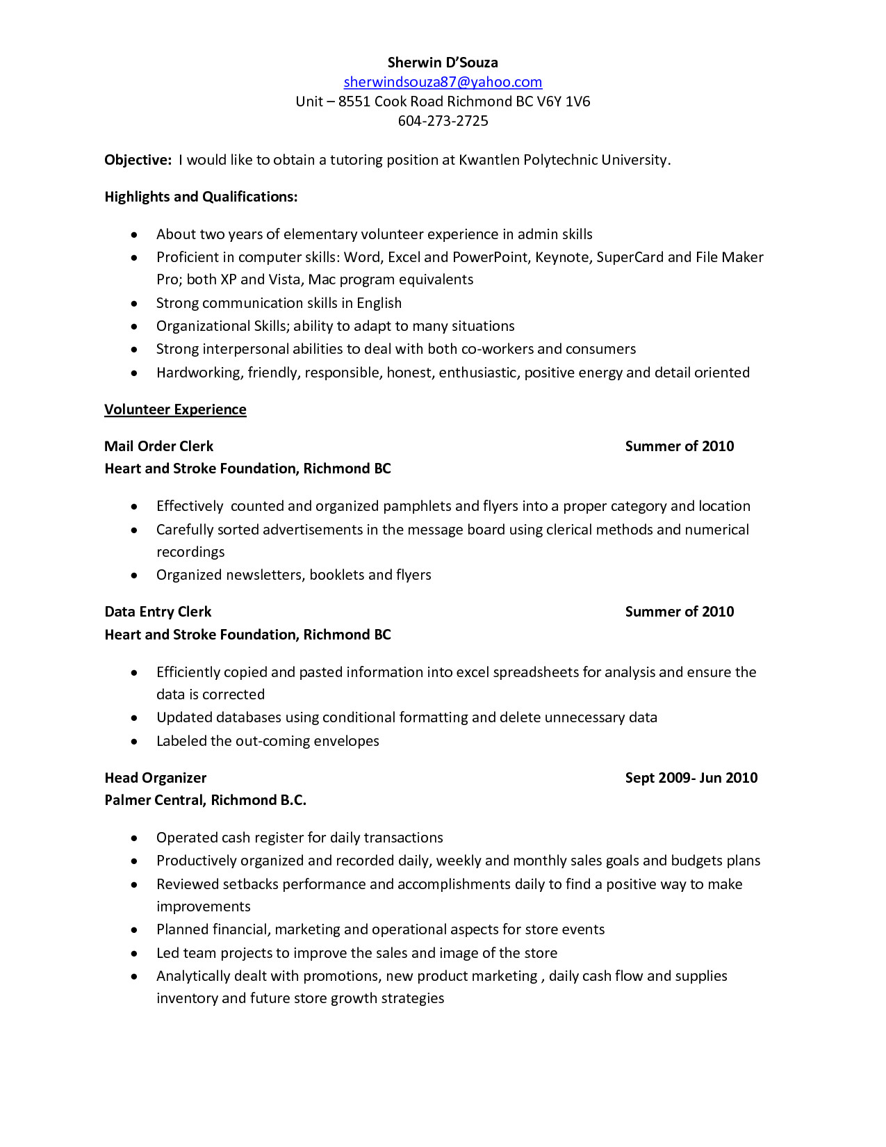 tutor resume sample 454