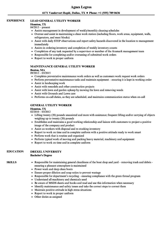 general utility worker resume sample