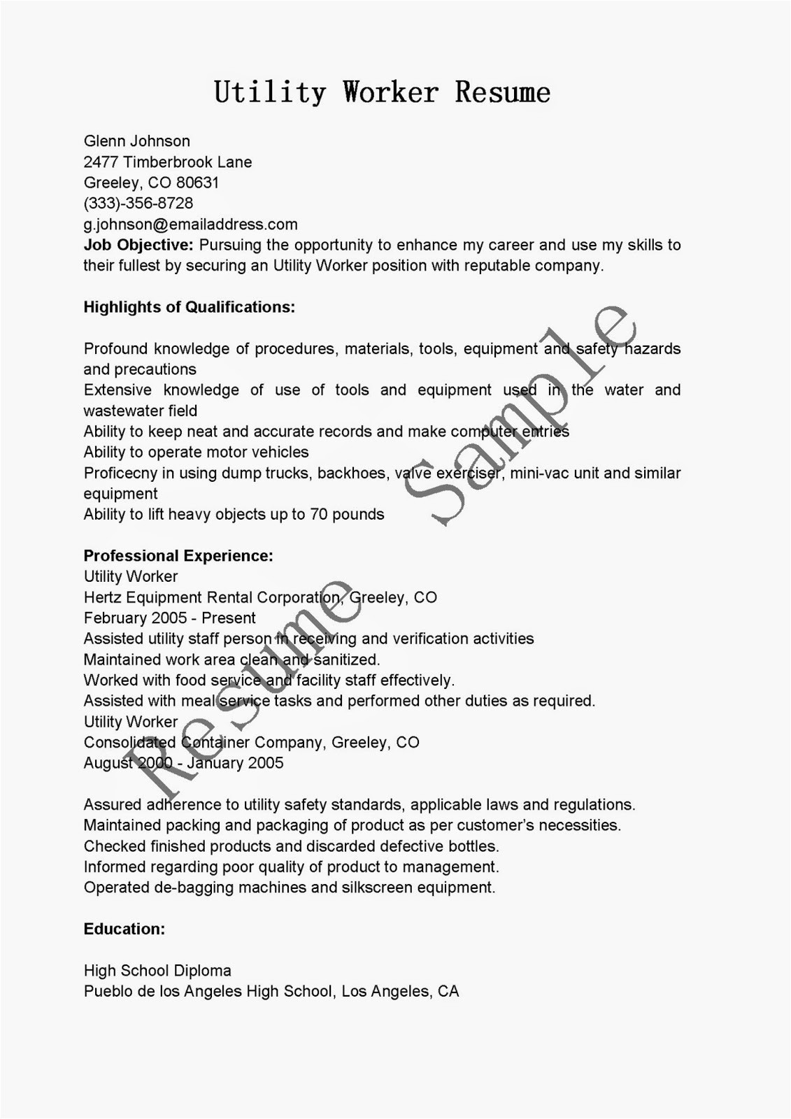 utility worker resume sample