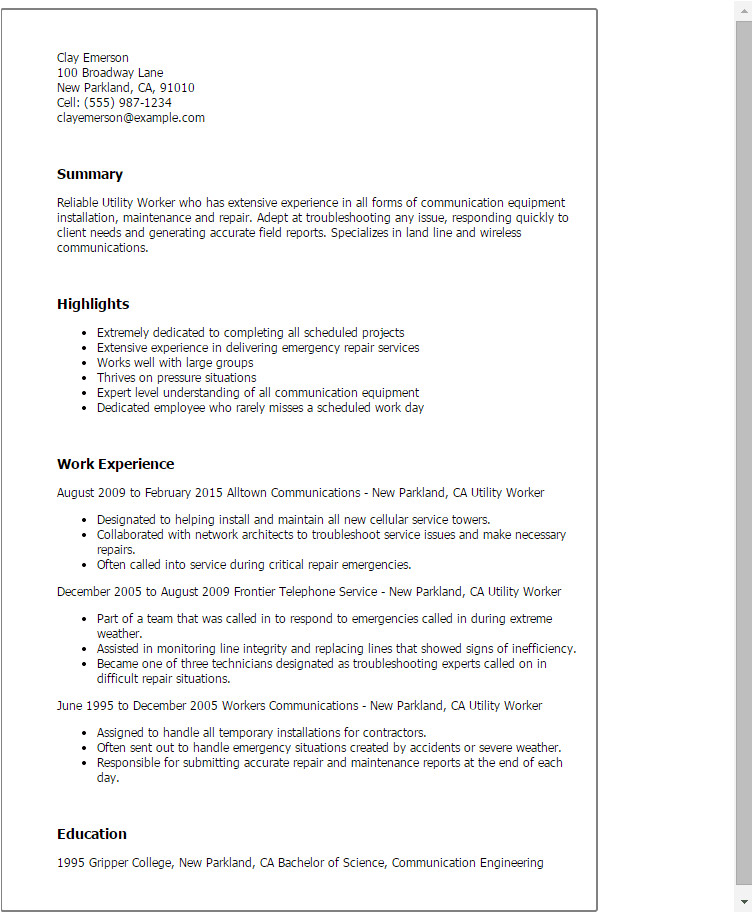 Sample Resume for Utility Worker Utility Worker Resume Template Best Design Tips