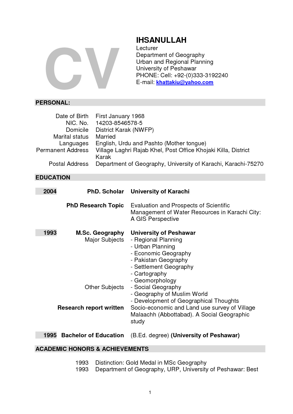 sample resume for faculty position