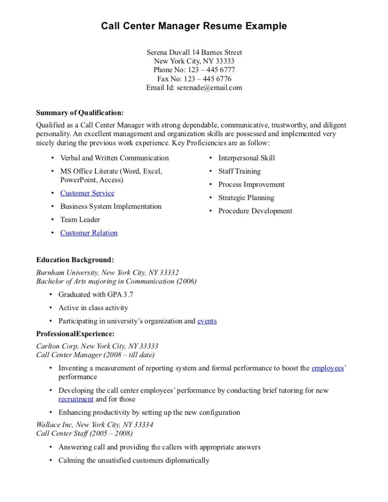 call center resume sample without experience