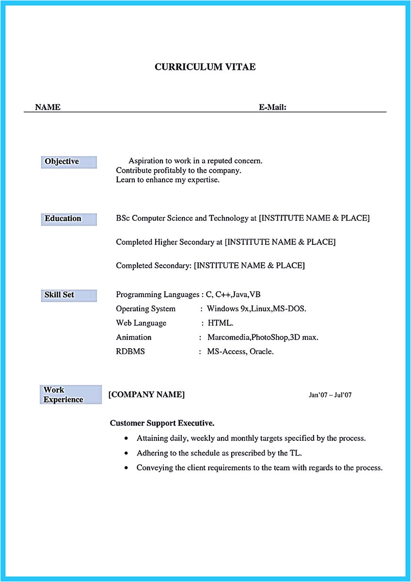 Sample Resume format for Call Center Agent without Experience Impressing the Recruiters with Flawless Call Center Resume