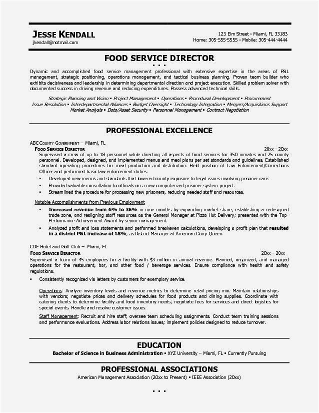 example resume food service