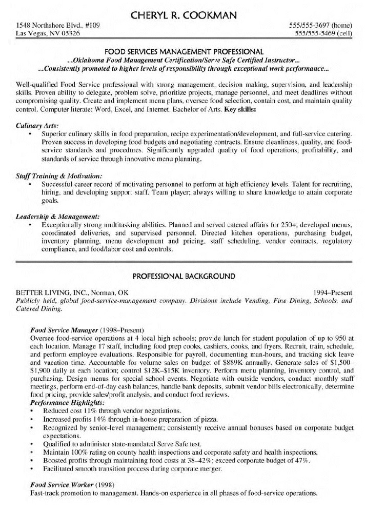food service manager resume 1804