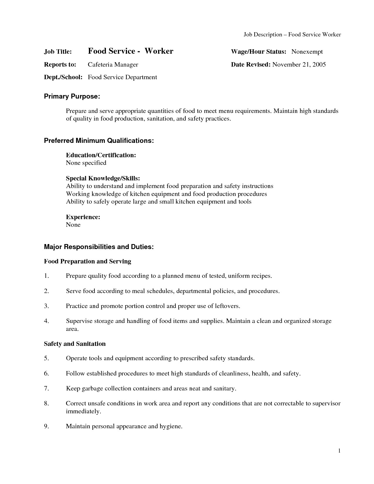 food service resume example fast resumes template 2017