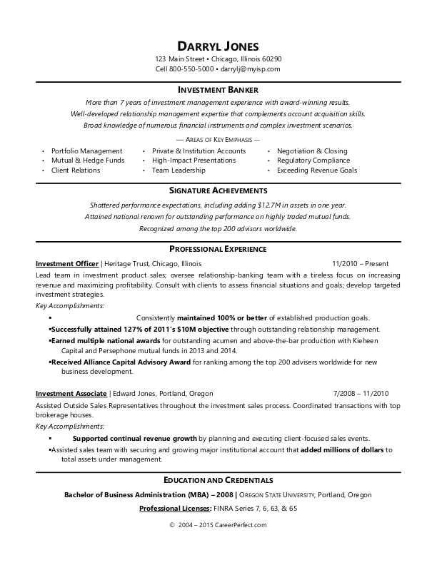 sample resume investment banker