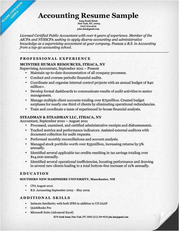 accounting cpa resume sample
