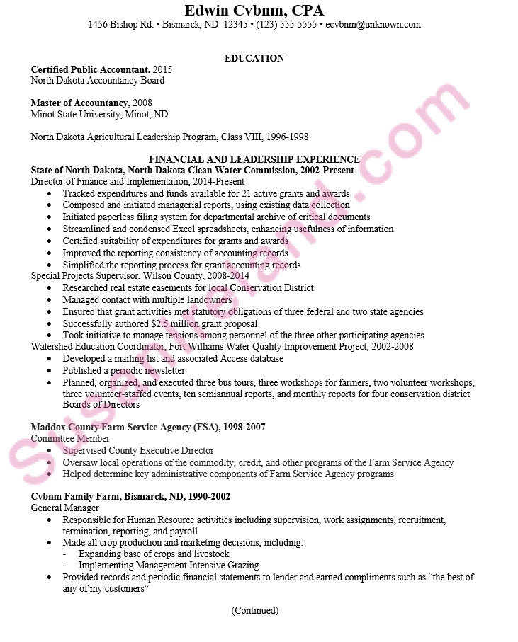 chronological resume sample certified public accountant cpa