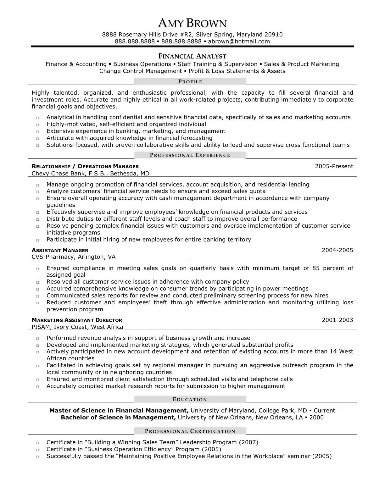 senior financial analyst resume