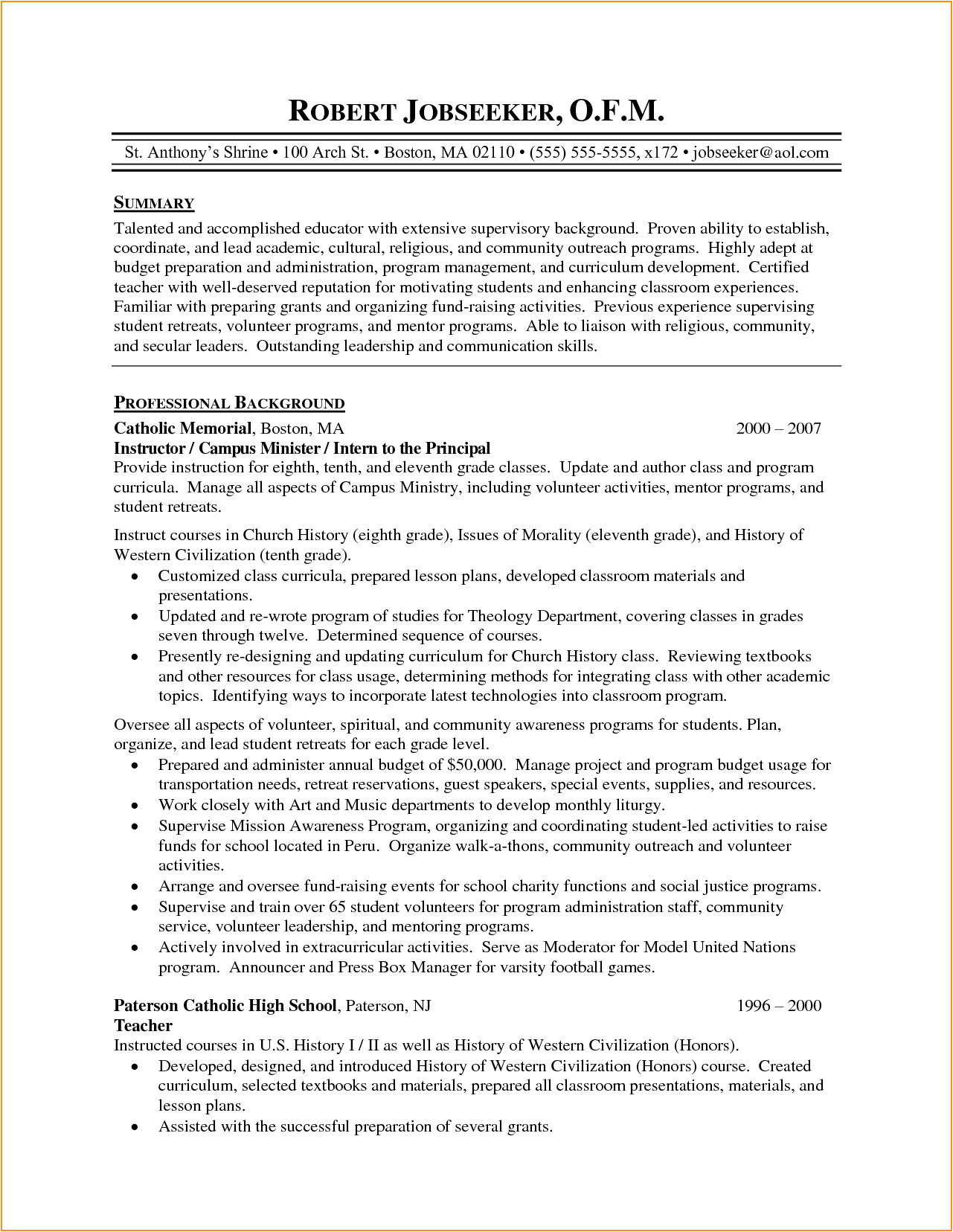 8 high school teacher resume examples