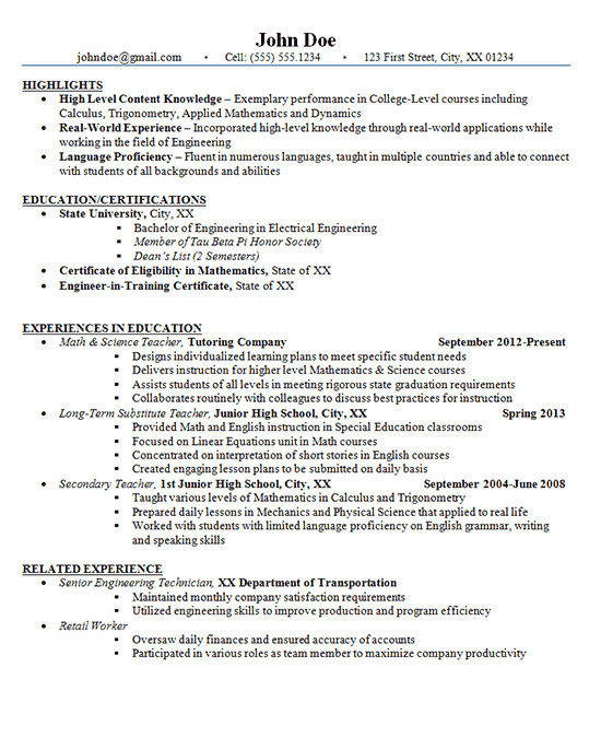 Sample Resume Of A Teacher In High School Junior High School Teacher Resume Example Math and Science