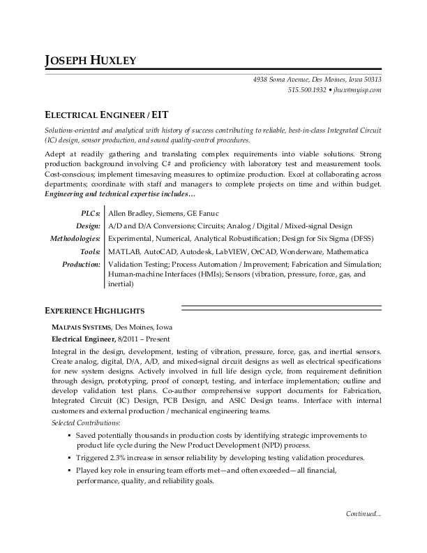 sample resume electrical engineer